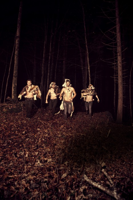 band golden reef running in the forest